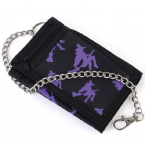 Purple witch logo canvas  wallet and chain